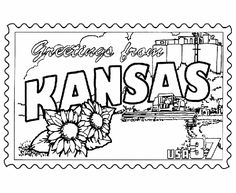 """CLIMBING KANSAS MOUNTAINS (FIAR 3) activity: coloring page. This was after the 8yo pulled the """"K"""" encyclopedia for the 10yo to find the """"Kansas"""" entry and report to us the state symbols. This postcard/stamp image doesn't include all the symbols but it does represent the read aloud book well. We printed on handy cardstock so the kids could send them in the mail."""