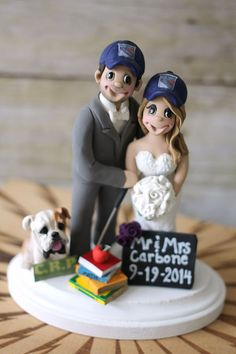 Fun Wedding Cake Topper With Bulldog Books Chalkboard Sign And Rangers Hat