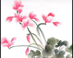 Bouquet of 6 Chinese Brush Painting Gift Cards for Mom. by Vartus