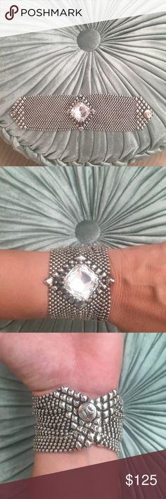 Sergio Gutierrez liquid silver bracelet. Beautiful bracelet adorned with large rhinestone. In excellent condition. Jewelry Bracelets