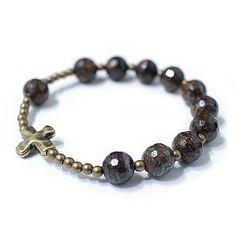 Bronzite Rosary bracelet, stone bracelet, Brass ball and Cross, accessory for women and mens by saffronmrk on Etsy https://www.etsy.com/listing/248790184/bronzite-rosary-bracelet-stone-bracelet