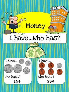 "Here's a set of ""I have, who has?"" cards on counting coins."