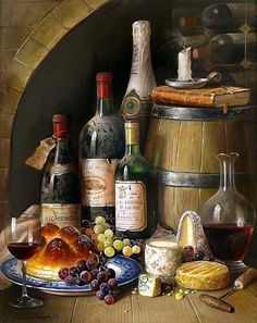 Mom Pictures, Special Pictures, Pictures To Paint, Wine Painting, Fruit Painting, Caravaggio, Wine Ingredients, Under The Tuscan Sun, Wine Bottle Art