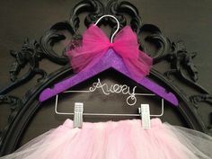 Tutu, Tutu Hanger, Tutu Display, Kids Hanger, Flower Girl Gift, Personalized Hanger, Glitter Covered, Little Girls Hanger on Etsy, $32.00