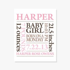 Personalized Baby Subway Art [Pink]