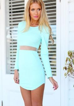 The New Fashion Long Sleeved Perspective Irregular Skirt Black Green Dress  Sexy Cultivate One S Morality Show ec0d320c9546