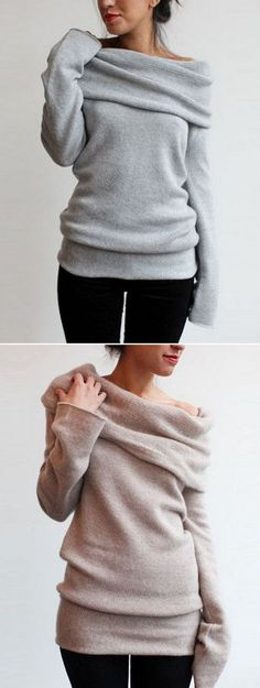 ACHICGIRL Heathered Turtleneck Off-the-Shoulder Knit Sweater
