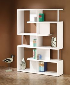 Coaster Furniture Solid modern bookcase in white Five tier double bookcase Diy Bookshelf Design, Simple Bookshelf, Modern Bookshelf, 5 Shelf Bookcase, Bookcase White, Bookshelf Ideas, Bookshelf Decorating, Office Bookshelves, Contemporary Bookcase