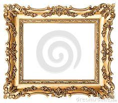Frame de retrato dourado do vintage Objeto antigo do estilo