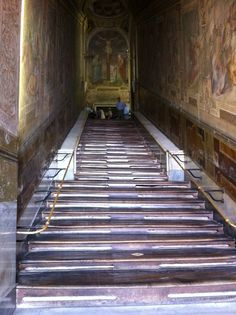 The Scala Sancta aka the Holy Stairs when Jesus walked up to Pontius. Jesus was already brutally beaten at the temple before he walked up 28 steps to meet Pilate.