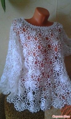 Simple Pattern And Great Result - Diy Crafts - Qoster Crochet Blouse, Crochet Shawl, Crochet Lace, Crotchet Patterns, Crochet Motifs, Ladies Tops Patterns, Diy Crafts Crochet, Irish Crochet, Vintage Crochet