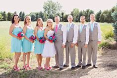 Pink & Blue Bridesmaids Groomsmen -- Sheryl !!! Different color is pretty cool