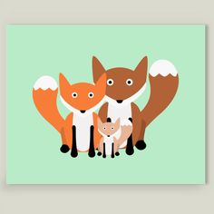 Woodland Fox Family Art Print by GZG on BoomBoomPrints