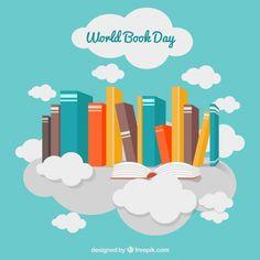Arrière-plan décoratif avec des livres et des nuages colorés Vecteur gratuit