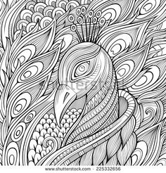 Decorative ornamental peacock background. Vector illustration