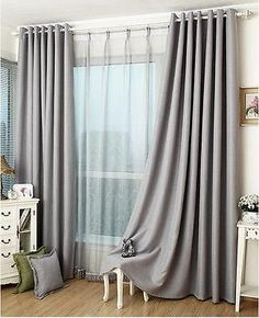 Drapes Bedroom Piece Solid Color Window Curtains For Living Room . Curtains: Charming Short Blackout Curtains For Cool Window . Sunnyrain 1 Piece Jacquard Luxury Curtains For Living Room . Home Design Ideas Bedroom Drapes, Gray Bedroom, Trendy Bedroom, Master Bedroom, Bedroom Decor, Light Bedroom, Bedroom Ceiling, Bedroom Modern, Grey Blackout Curtains