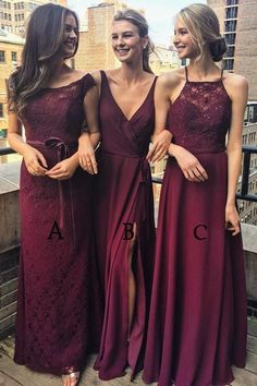 Multi Styles A-Line Floor-Length Burgundy Bridesmaid/Prom/Evening Dress with Lace,N583 #MaroonWeddingIdeas #bridesmaids #bridesmaiddresses