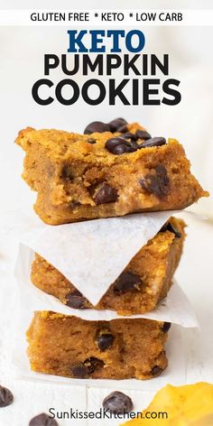 A delicious protein packed Pumpkin Chocolate Chip Cookies recipe -- baked into bar form! A delicious low carb and keto cookie recipe.