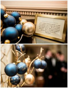 Such a fun guest book alternative, perfect for a winter wedding! Have your guests sign Christmas ornaments that you can hang on a special Christmas tree for years to come or fill large hurricane vases with for extra special Christmas decor!