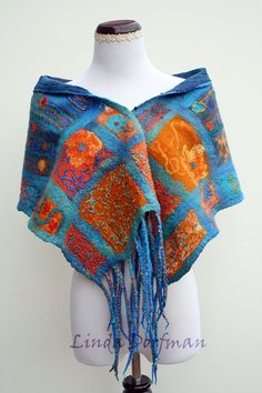 Blue Felted Wool Scarf,Nuno Felted Scarf,Multi Colored Wet Felted Scarf,Felted Wool Wrap,Handmade Wool Scarf,Wool Felt Scarf,Merino Scarf