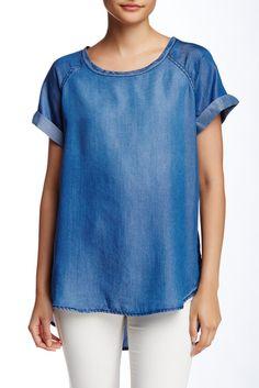 Short Sleeve Oversized Chambray Shirt