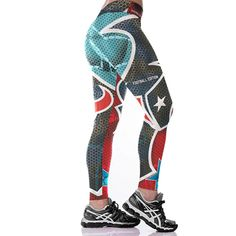 9ab1c3dc95bd8 Women Leggings Houston Texans Sport Print Running Active Sportswear High  Waist Pant Sexy Slim Hip Fitness Jogger Gym