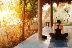 Yoga Shalas - Villa Lina's outdoor yoga shall - www.manushkayoga.com