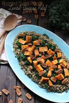 "Roasted Sweet Potato Lentil-Quinoa Pilaf | Love and Lentils | Entry into the ""Main Dish"" category"