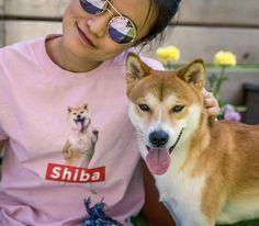 Naked Shiba dog t-shirt for woman