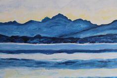 """Detail """"Meer van Genève op een novembermorgen""""naar Ferdinand Hodler. (Schilderij is 1 meter bij 40)"""