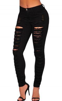 Black Denim Destroyed High-waist Skinny Jeans