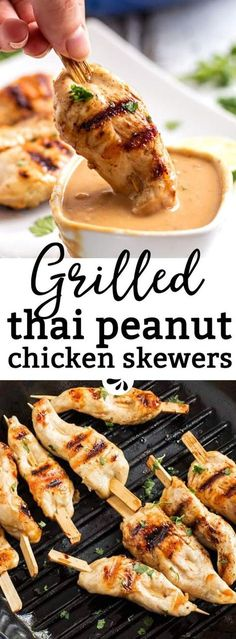 Are you looking for an easy grilled chicken recipe? These grilled chicken skewers with Thai peanut sauce are an incredible satay-inspired idea! Serve them as part of a BBQ potluck or summer picnic. They work as a simple dinner too. The sauce is no-cook a Thai Peanut Chicken, Thai Peanut Sauce, Thai Chicken, Peanut Butter Chicken, Grilling Chicken, Chicken Satay, Peanut Butter Sauce, Chicken Tenders, Chicken Thighs