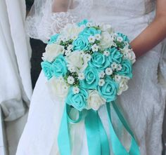 2016 Blue and White Wedding Bouquet  Artificial Flower