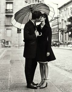 old fashion, kissing in the rain, also love the black and white contrasts!