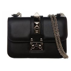 Pre-Owned Valentino Mini Black Black Cross Body Chain Strap Bag (42 785 UAH) ❤ liked on Polyvore featuring bags, handbags, shoulder bags, torbe, black, crossbody shoulder bags, mini purses, mini crossbody, mini shoulder bag and valentino handbags