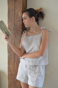 IVORY handmade washed linen Summer womans Pajama top and shorts. A cozy pajama with regulating straps. / - 36 S Bust 86 - 88 cm. Cute Pajamas, Pajamas Women, Sleepwear Women, Pajama Shorts, Pajama Top, Linen Shorts, Lounge Wear, Fashion Outfits, Fashion Goth