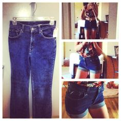 How to make high waisted shorts put of a pair of old goodwill jeans