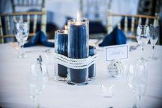 Decoração branca e azul navy - vela