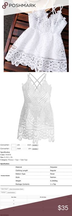 White Lace Top Beautiful white lace top. Please see pictures for sizing information. ✅ same or next day shipping ❌trades Tops Tank Tops