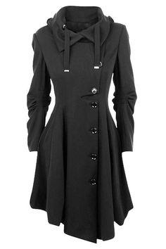 Single-Breasted Irregular Hem Skirted Coat