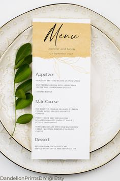 Introducing MILA, this minimalist and clean wedding menu with a yellow gold flourish is perfect for a modern wedding.#weddingmenu #minimalistmenu #simplemenu Wedding Menu, Wedding Stationary, Gold Wedding, Wedding Invitations, Pocket Invitation, Invitation Kits, Menu Cards, Diy Cards, Diy Wedding Templates