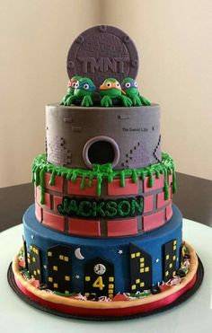 TMNT cake--- maybe cut around a tube..pvc maybe...and lay the cake over that so that you can see through the tunnel like he wants?