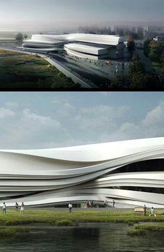 Yinchuan art museum Architecture Design, Organic Architecture, Facade Design, Architecture Portfolio, Concept Architecture, Futuristic Architecture, Contemporary Architecture, Amazing Architecture, Building Concept