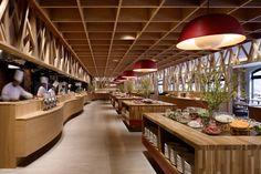 Aomori Apple Kitchen by fan Inc. Open Buffet, Kitchen Buffet, Open Kitchen, Rooftop Restaurant, Restaurant Design, Hotel Breakfast, Shopping, Zhengzhou, Buffets