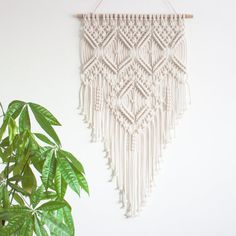 Macrame Wall Hanging > ROCOCO > 100% Cotton Cord in Natural Ecru with Bamboo