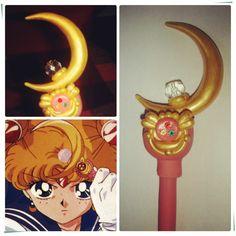 Sailor Moon caneta cetro lunar em biscuit. Feita com caneta BIC, pode trocar a carga quando terminar a tinta.