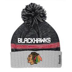 Mens Chicago Blackhawks Reebok Black Cuffed Knit Hat with Pom 3baae20ae495