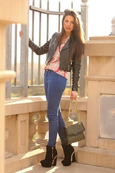 jeans and leather jacket with platform boots