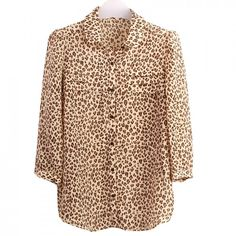 $27.003/4 Sleeve Lapel Yellow Leopard Print Blouse