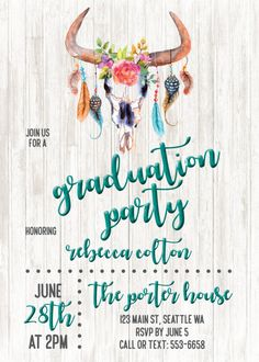 Feathers and arrows graduation party photo card invitation card graduation party invitation boho bohemian hippie graduation card grad party filmwisefo